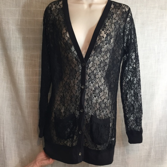20% off Xhilaration Sweaters - Long black lace cardigan, button up ...